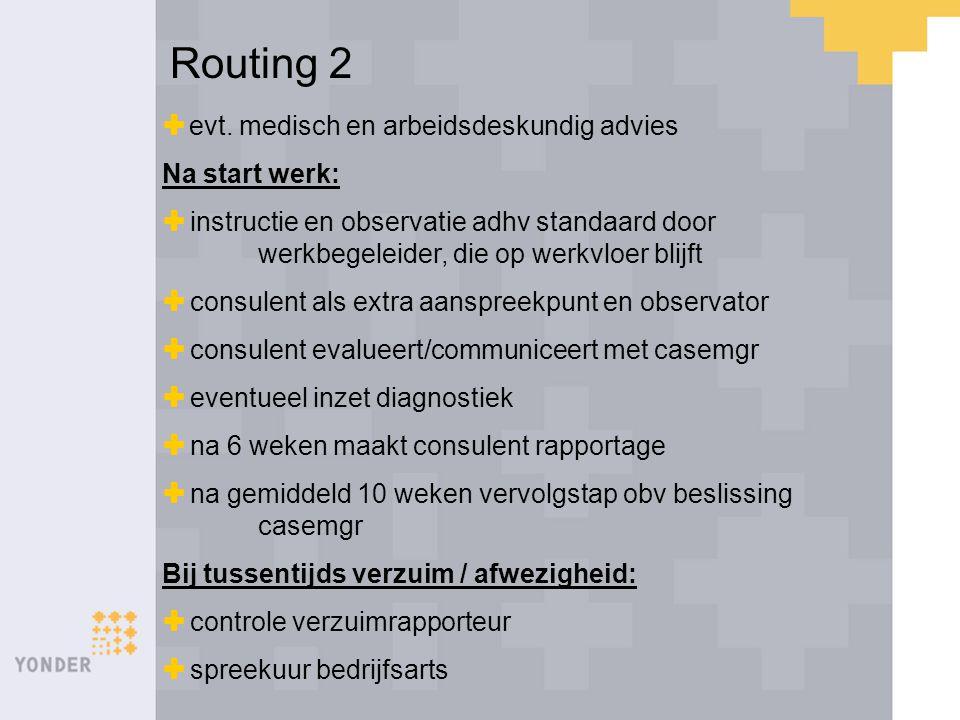 Routing 2 evt. medisch en arbeidsdeskundig advies Na start werk:
