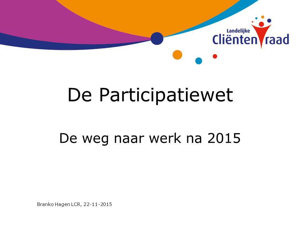 De Participatiewet De weg naar werk na 2015