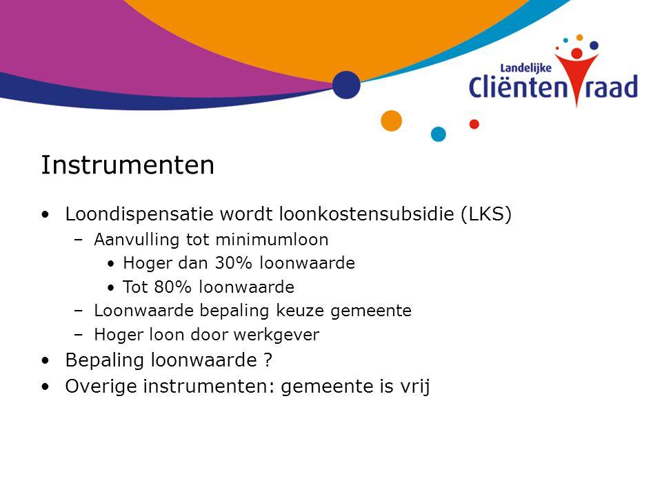 Instrumenten Loondispensatie wordt loonkostensubsidie (LKS)