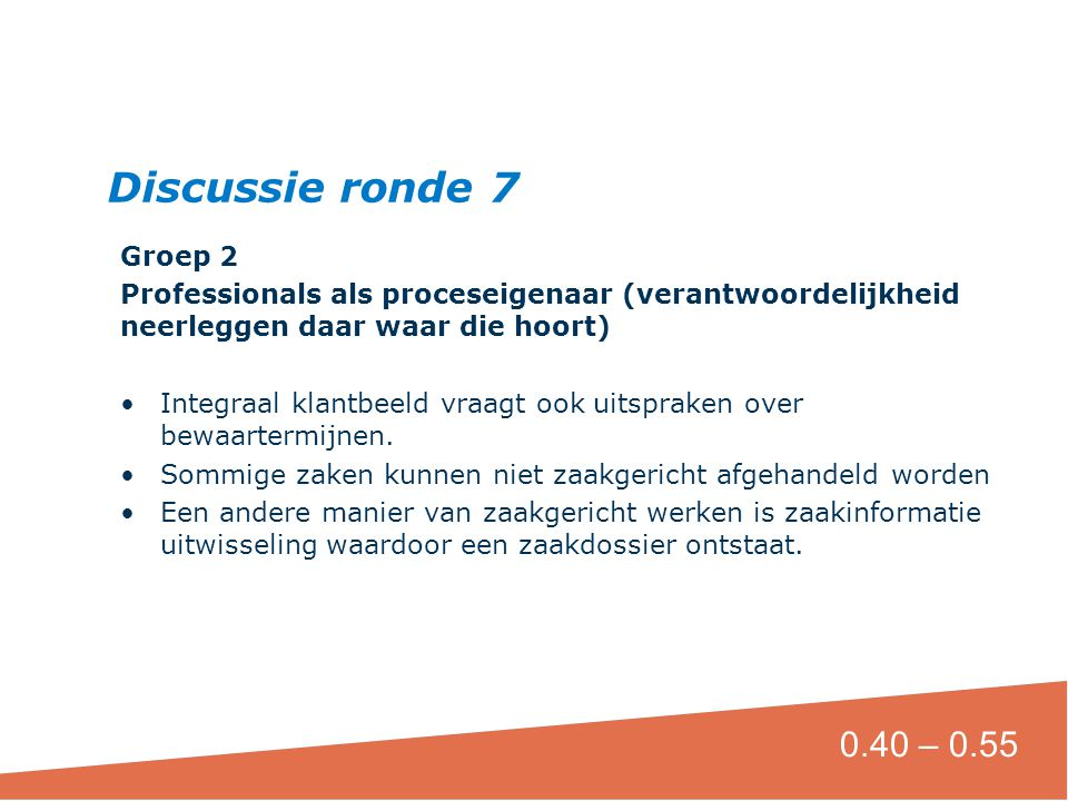 Discussie ronde 7 0.40 – 0.55 Groep 2