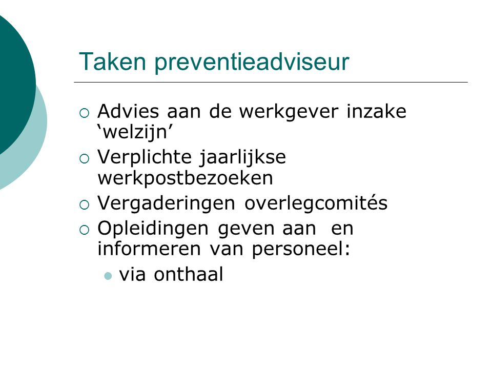 Taken preventieadviseur