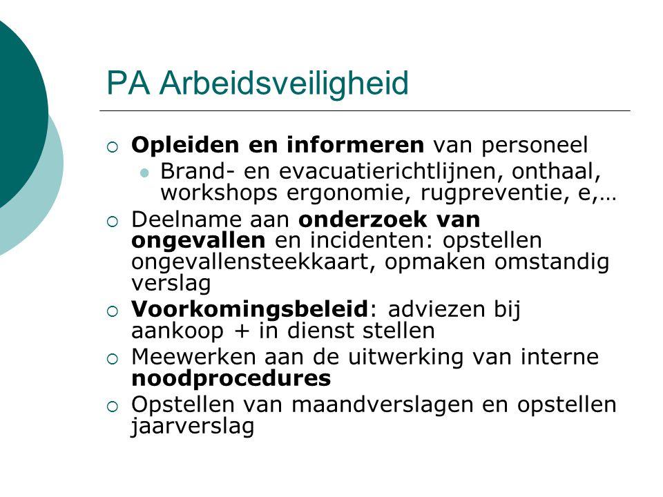 PA Arbeidsveiligheid Opleiden en informeren van personeel