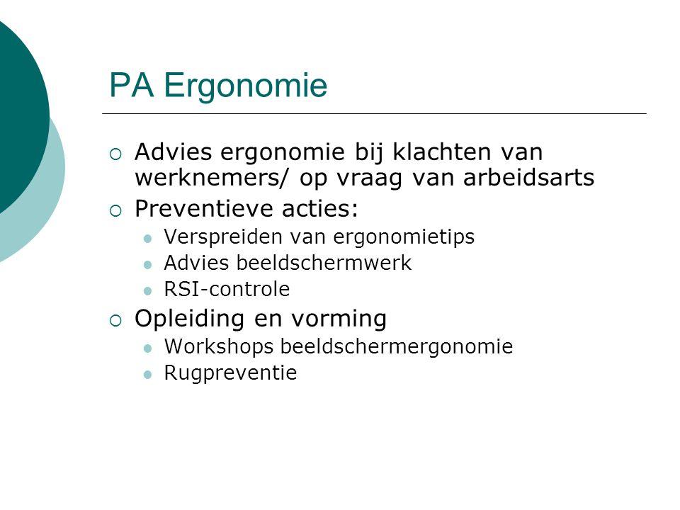 PA Ergonomie Advies ergonomie bij klachten van werknemers/ op vraag van arbeidsarts. Preventieve acties: