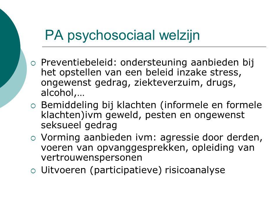 PA psychosociaal welzijn