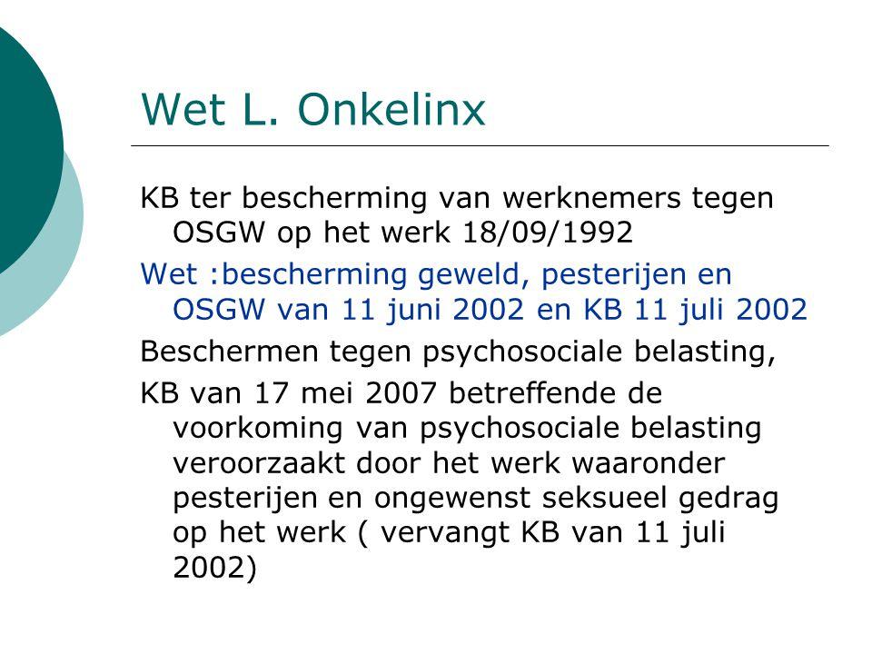 Wet L. Onkelinx KB ter bescherming van werknemers tegen OSGW op het werk 18/09/1992.