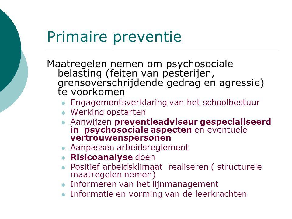 Primaire preventie Maatregelen nemen om psychosociale belasting (feiten van pesterijen, grensoverschrijdende gedrag en agressie) te voorkomen.