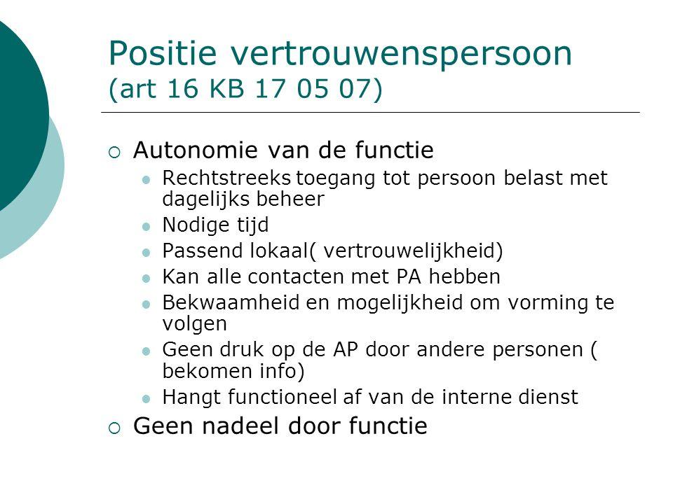 Positie vertrouwenspersoon (art 16 KB 17 05 07)