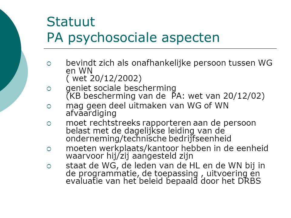 Statuut PA psychosociale aspecten