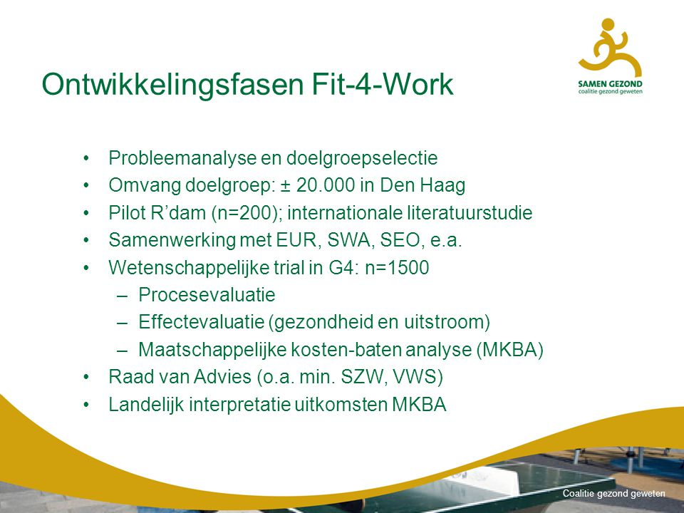 Ontwikkelingsfasen Fit-4-Work