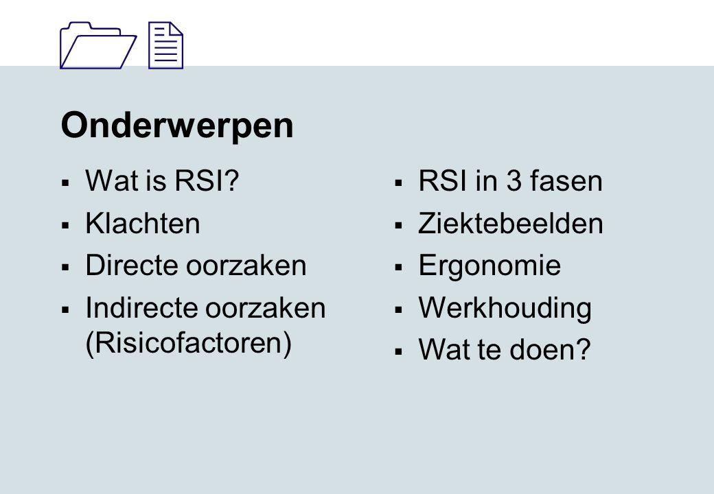 Onderwerpen Wat is RSI Klachten Directe oorzaken