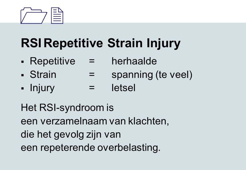 RSI Repetitive Strain Injury