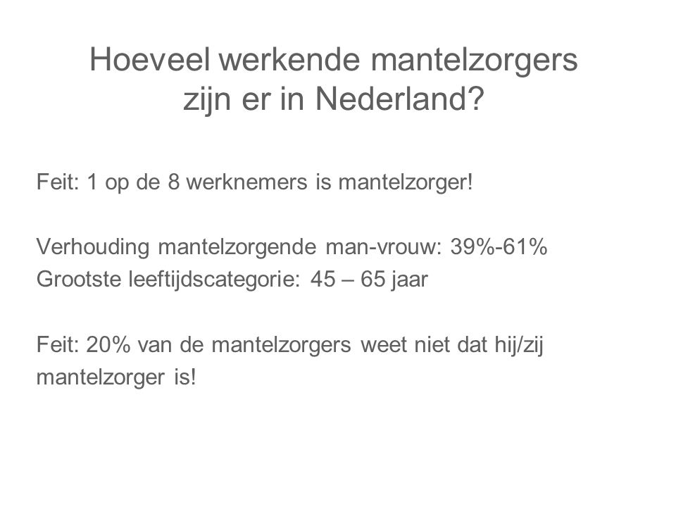 Hoeveel werkende mantelzorgers zijn er in Nederland