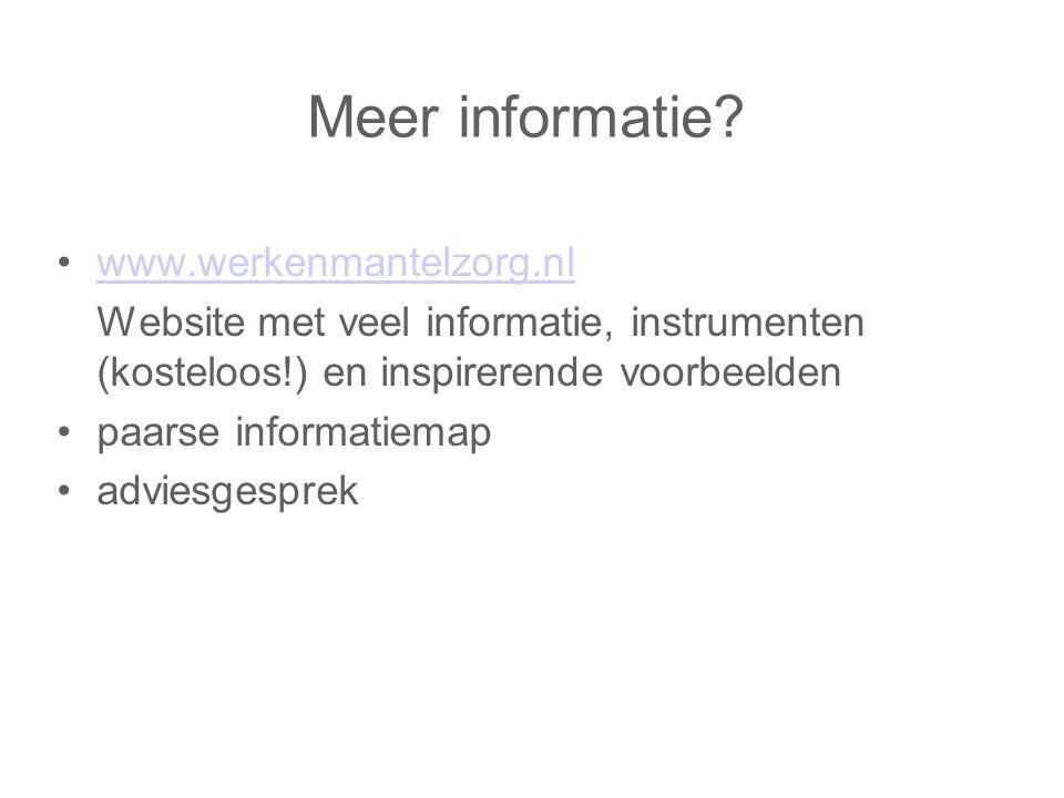 Meer informatie www.werkenmantelzorg.nl