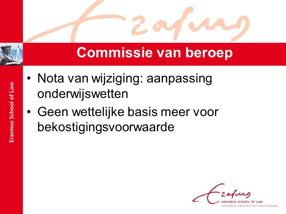 Commissie van beroep Nota van wijziging: aanpassing onderwijswetten