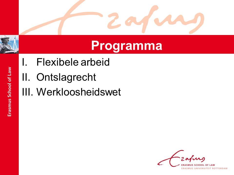 Programma Flexibele arbeid Ontslagrecht Werkloosheidswet