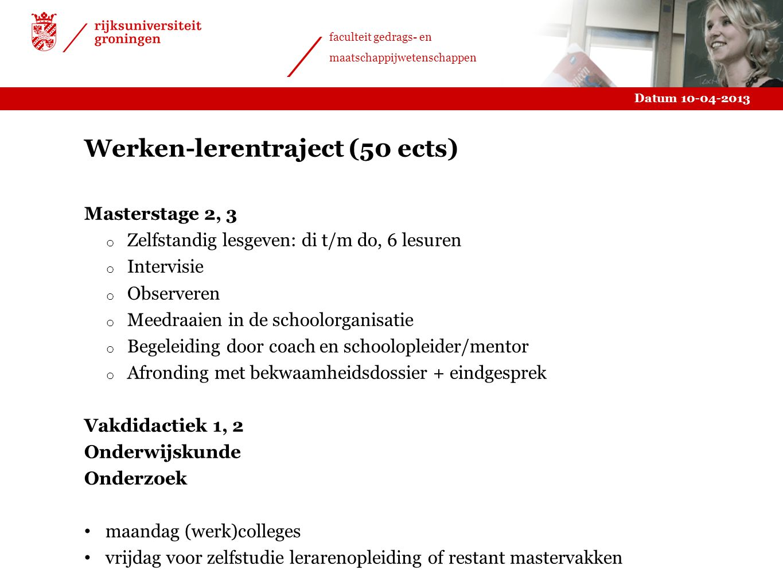 Werken-lerentraject (50 ects)