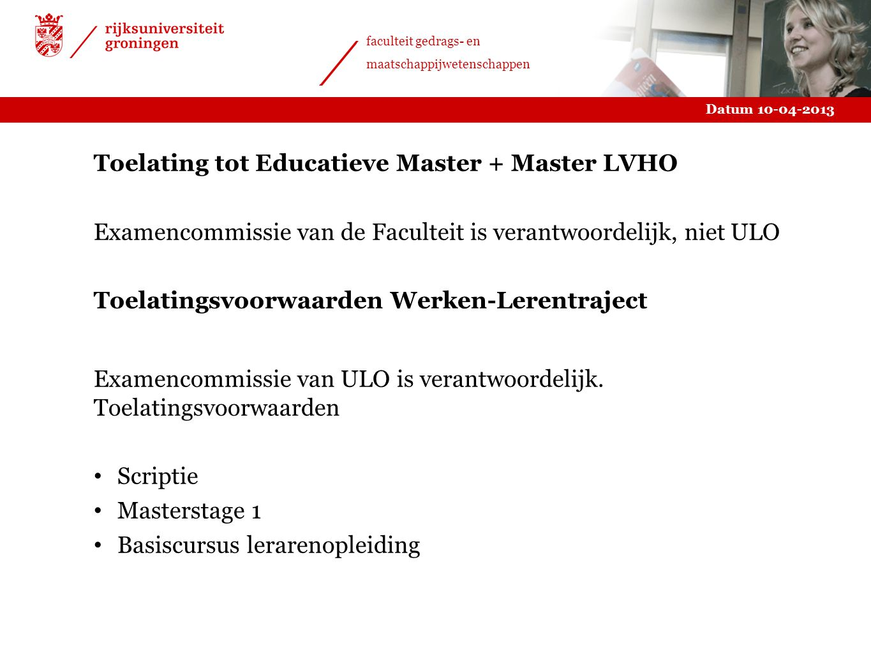 Toelating tot Educatieve Master + Master LVHO