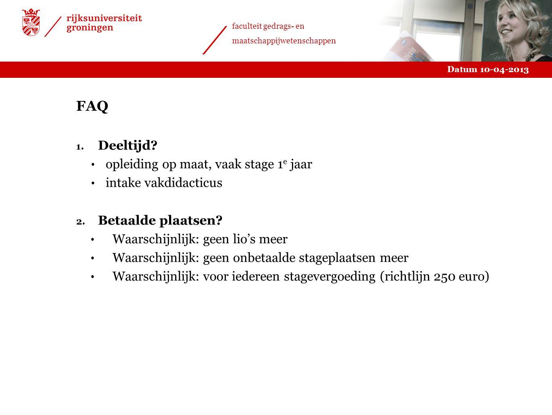 FAQ Deeltijd opleiding op maat, vaak stage 1e jaar