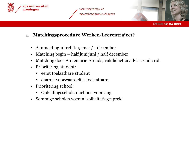 Matchingsprocedure Werken-Leerentraject