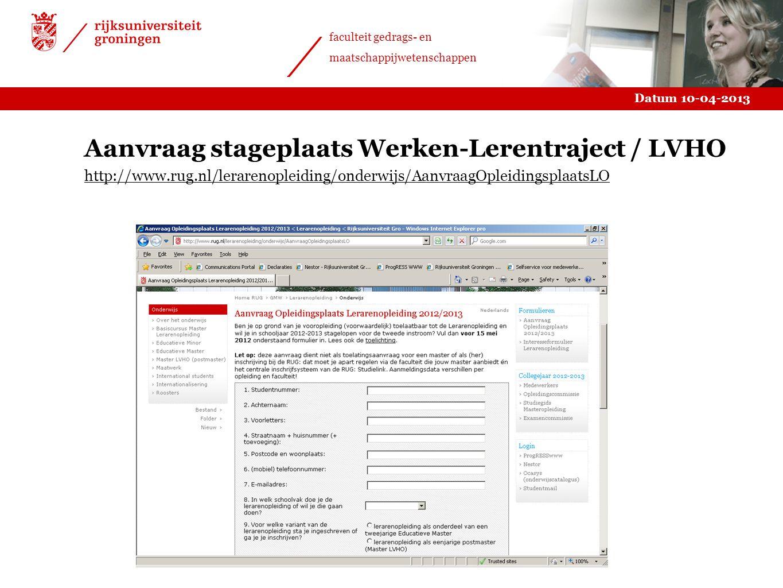 Aanvraag stageplaats Werken-Lerentraject / LVHO