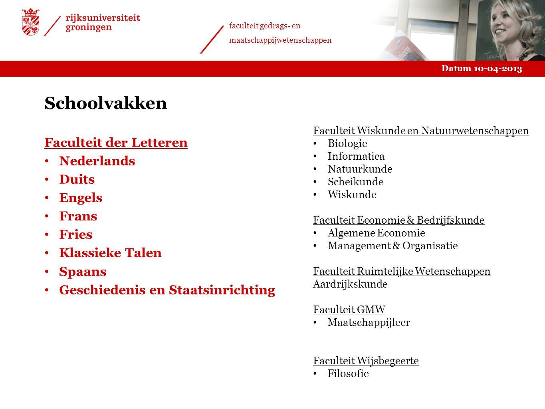 Schoolvakken Faculteit der Letteren Nederlands Duits Engels Frans