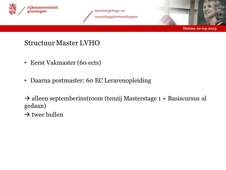 Structuur Master LVHO Eerst Vakmaster (60 ects)