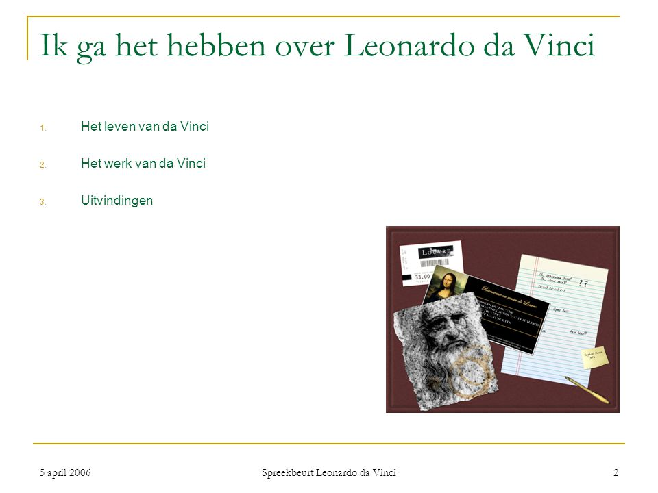 Ik ga het hebben over Leonardo da Vinci