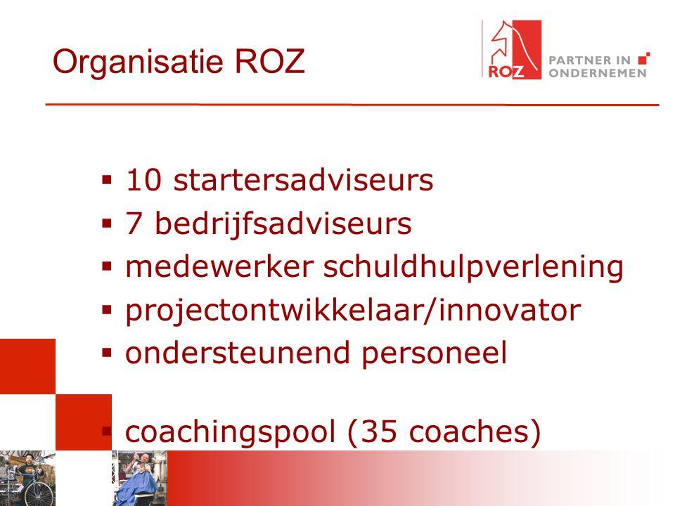 Organisatie ROZ 10 startersadviseurs 7 bedrijfsadviseurs