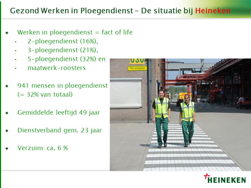 Gezond Werken in Ploegendienst – De situatie bij Heineken