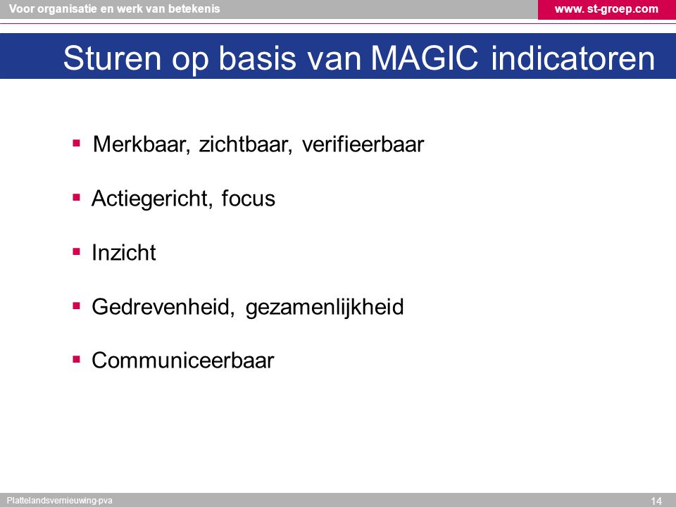 Sturen op basis van MAGIC indicatoren