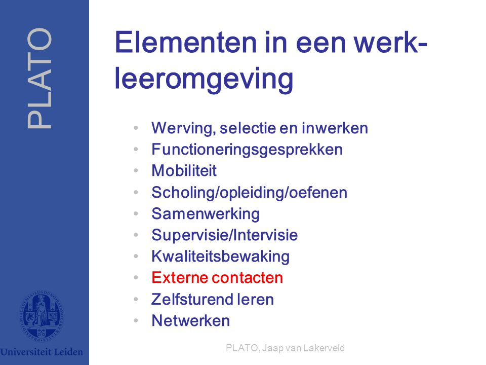 Elementen in een werk-leeromgeving