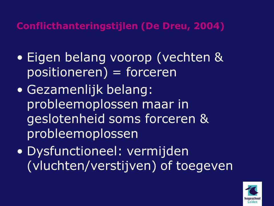 Conflicthanteringstijlen (De Dreu, 2004)