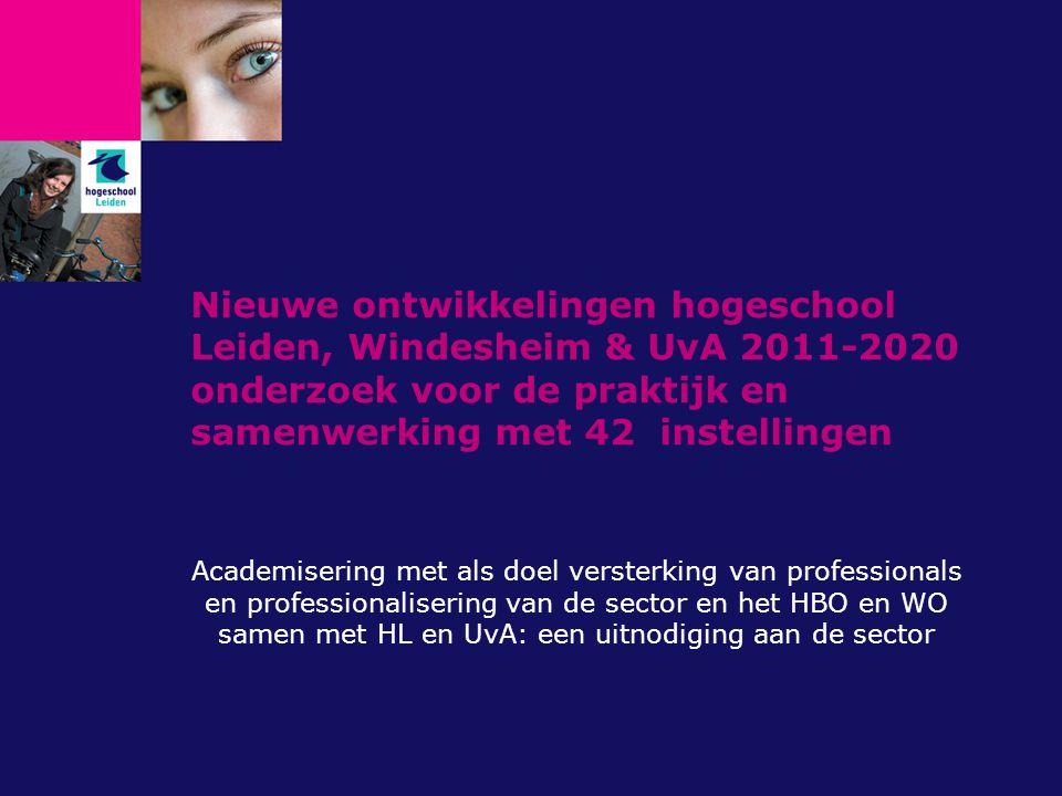 Nieuwe ontwikkelingen hogeschool Leiden, Windesheim & UvA 2011-2020 onderzoek voor de praktijk en samenwerking met 42 instellingen
