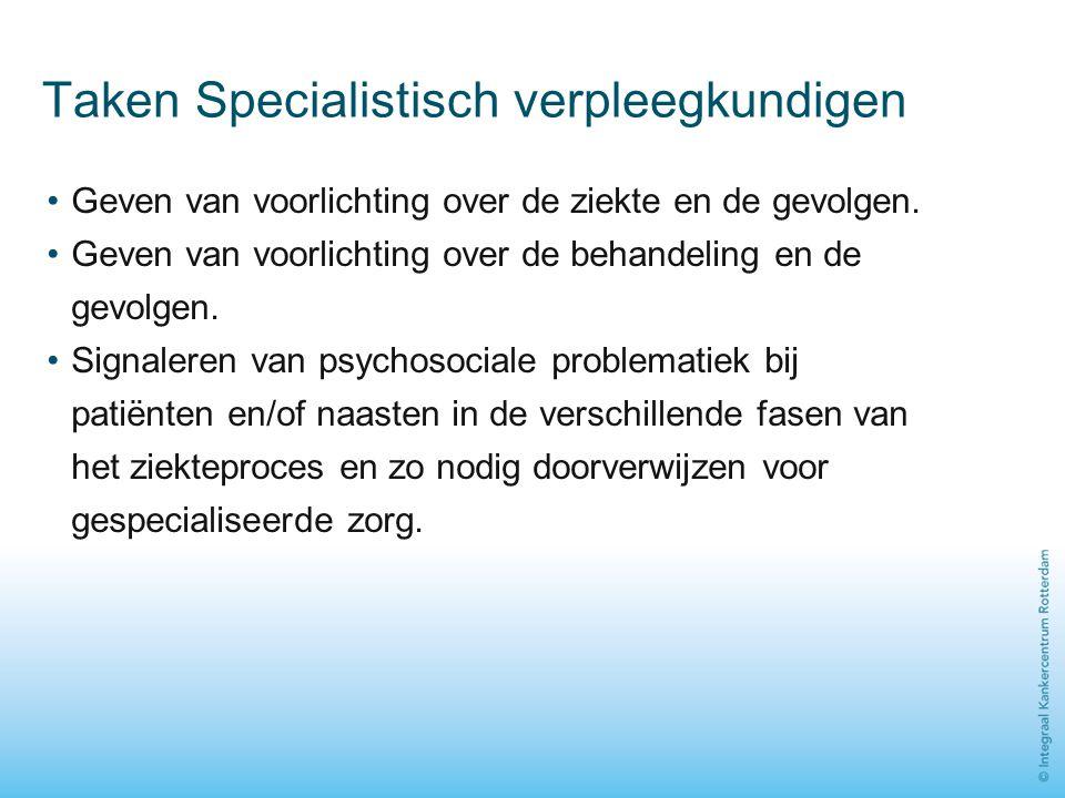 Taken Specialistisch verpleegkundigen