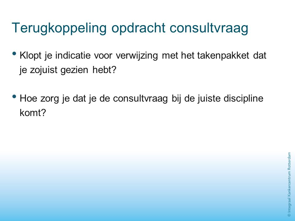 Terugkoppeling opdracht consultvraag