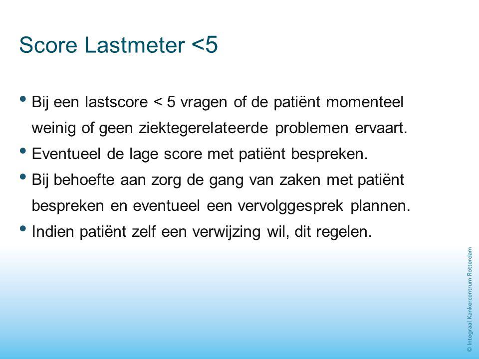 Score Lastmeter <5 Bij een lastscore < 5 vragen of de patiënt momenteel weinig of geen ziektegerelateerde problemen ervaart.