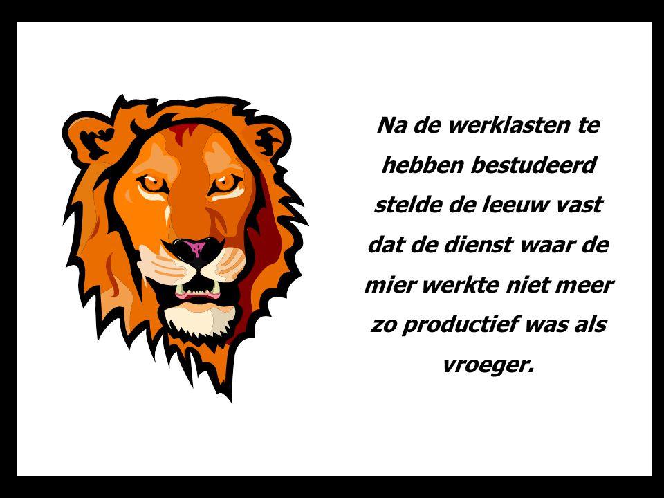 Na de werklasten te hebben bestudeerd stelde de leeuw vast dat de dienst waar de mier werkte niet meer zo productief was als vroeger.