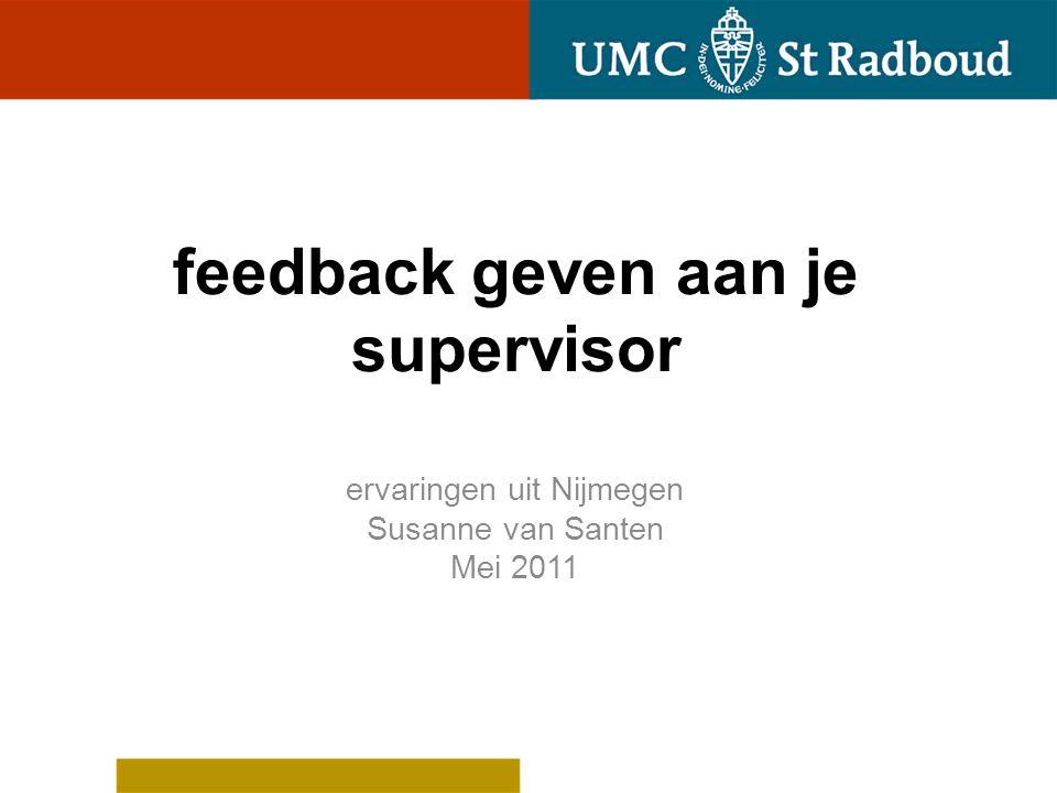 feedback geven aan je supervisor