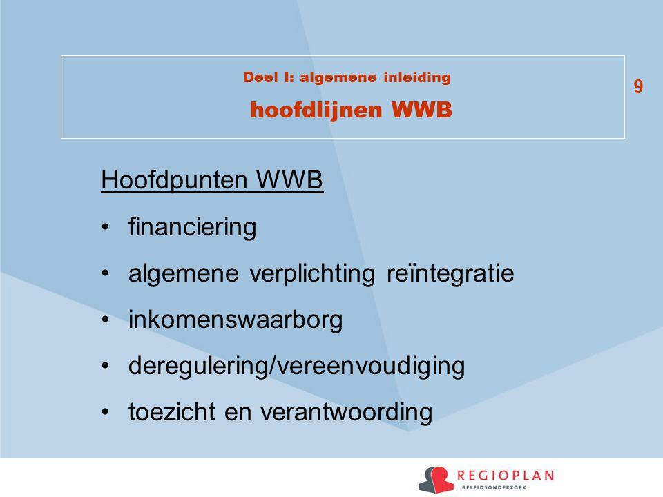 Deel I: algemene inleiding hoofdlijnen WWB