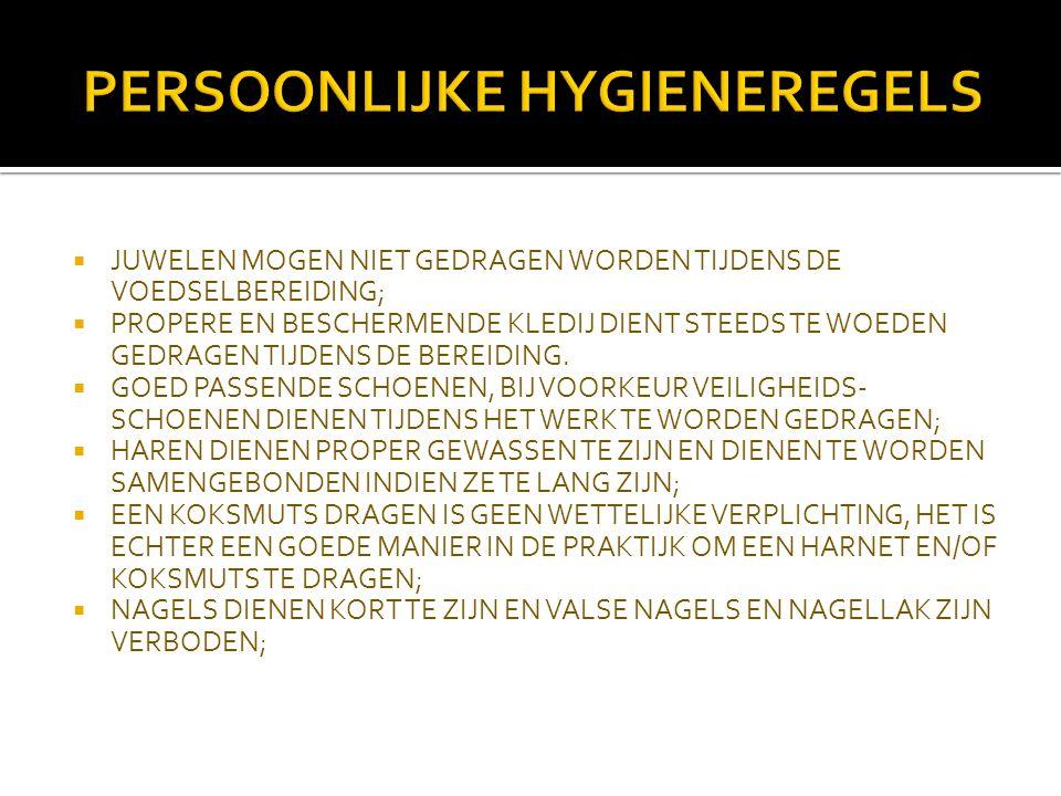 PERSOONLIJKE HYGIENEREGELS