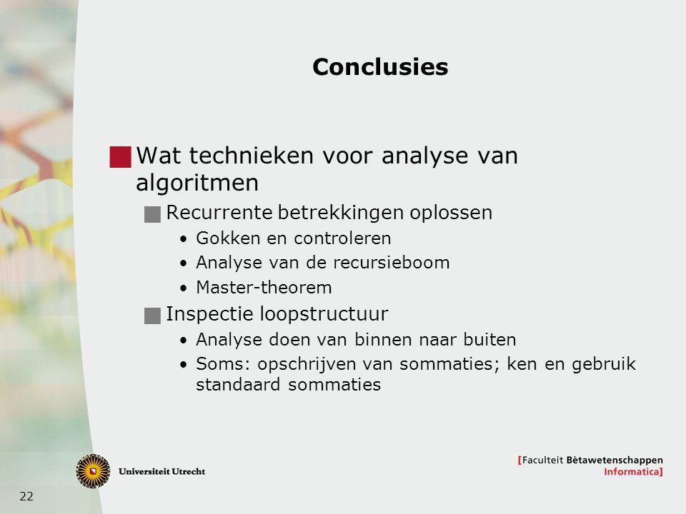 Wat technieken voor analyse van algoritmen
