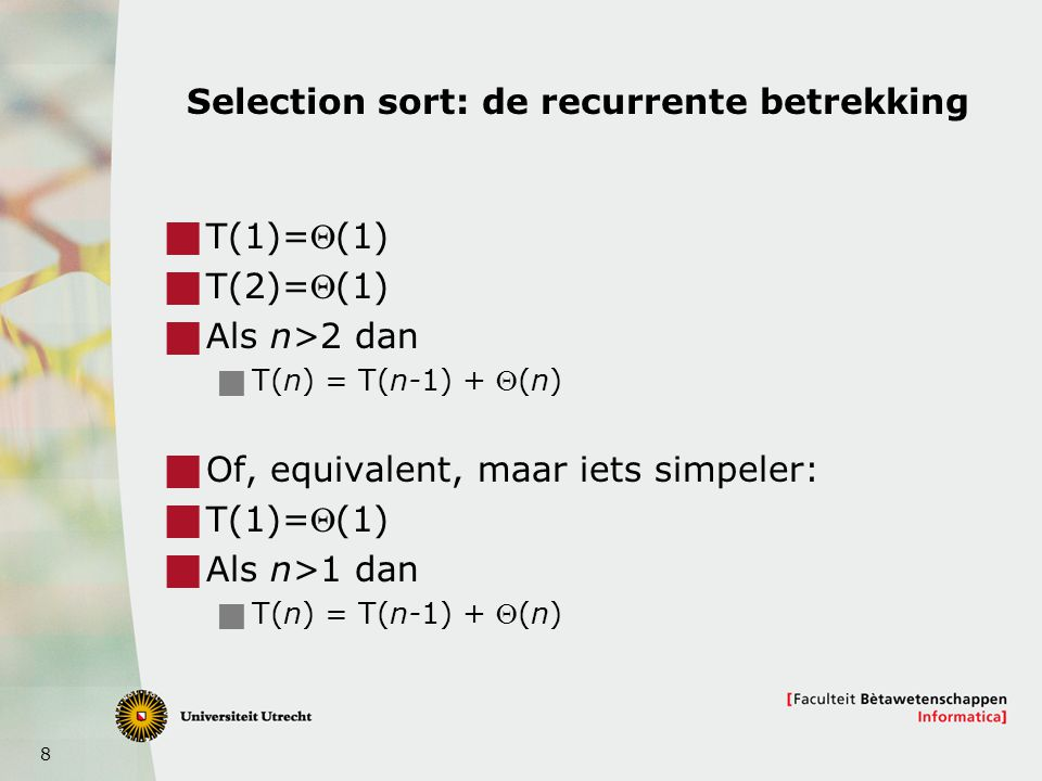 Selection sort: de recurrente betrekking