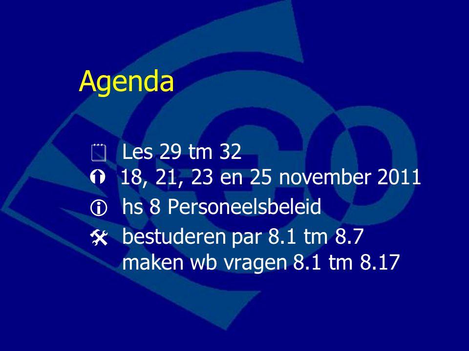 Agenda  Les 29 tm 32  18, 21, 23 en 25 november 2011