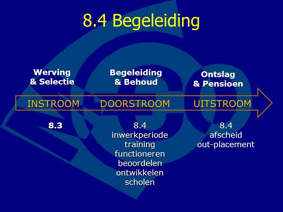 8.4 Begeleiding INSTROOM DOORSTROOM UITSTROOM Begeleiding & Behoud
