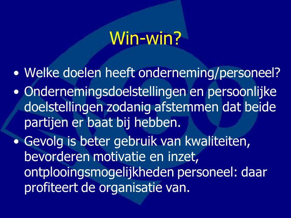Win-win Welke doelen heeft onderneming/personeel