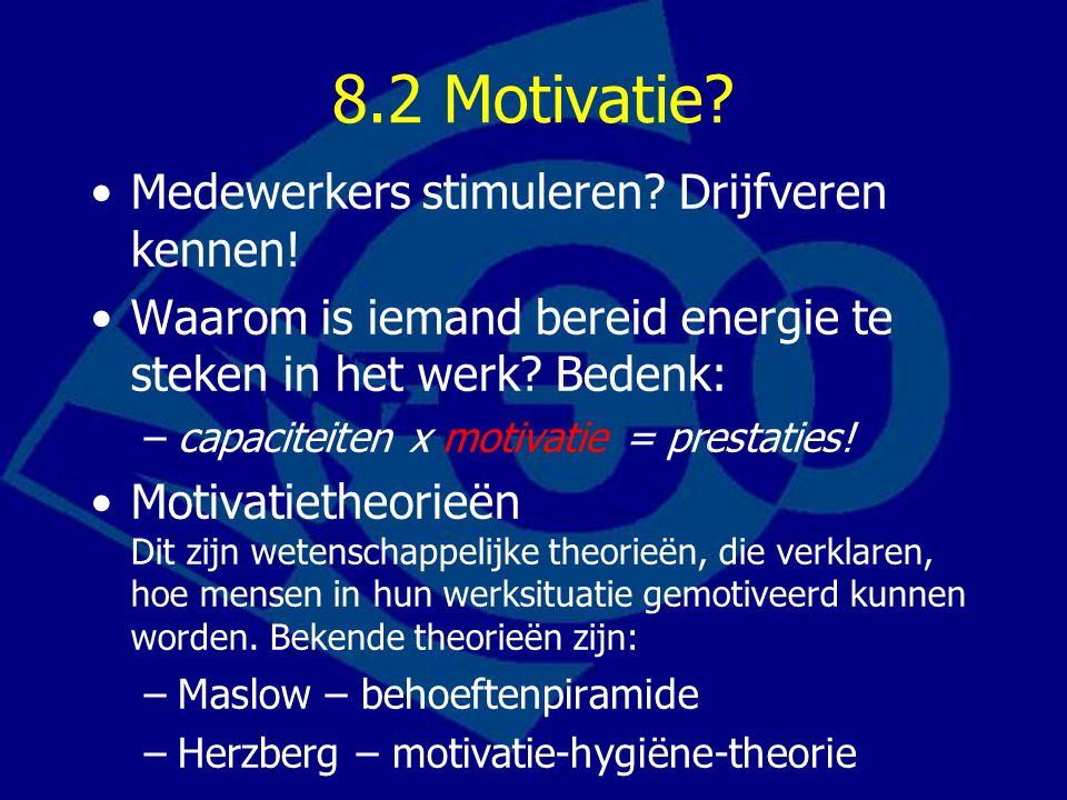 8.2 Motivatie Medewerkers stimuleren Drijfveren kennen!