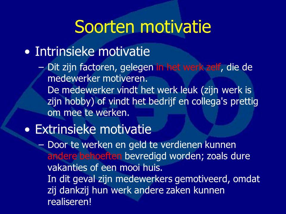 Soorten motivatie Intrinsieke motivatie Extrinsieke motivatie