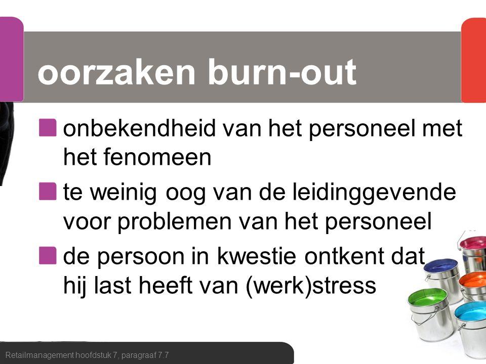 oorzaken burn-out onbekendheid van het personeel met het fenomeen