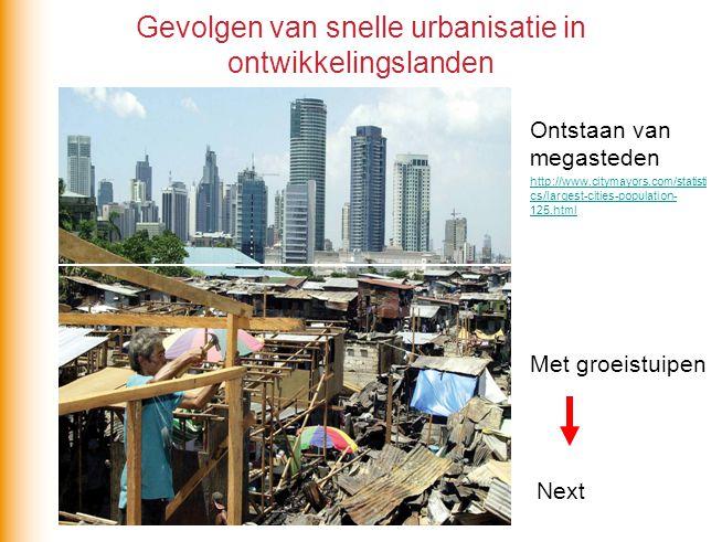 Gevolgen van snelle urbanisatie in ontwikkelingslanden