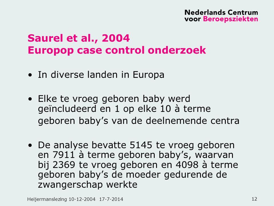 Saurel et al., 2004 Europop case control onderzoek